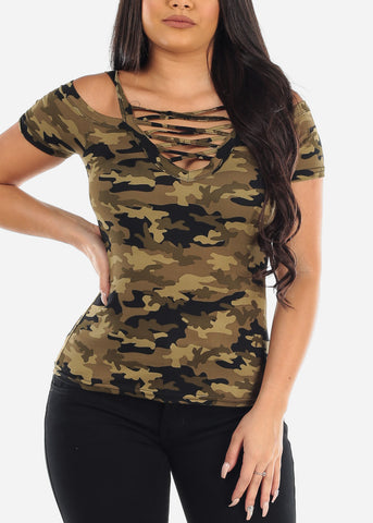 Cold Shoulder Strappy V Neckline Camouflage Army Print Top For Women