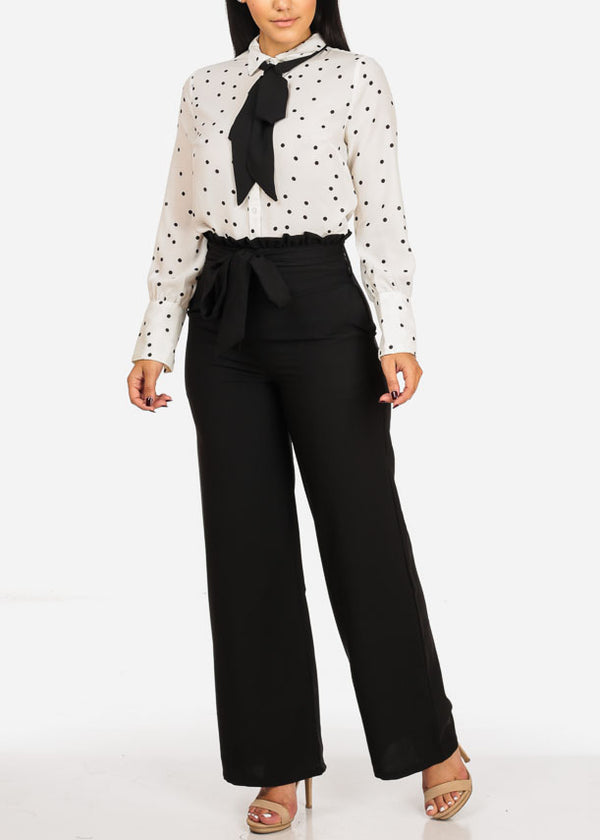 Black Belted High Rise Wide Legged Pants