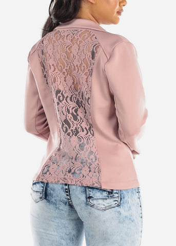 Image of Back Floral Lace Mauve Blazer
