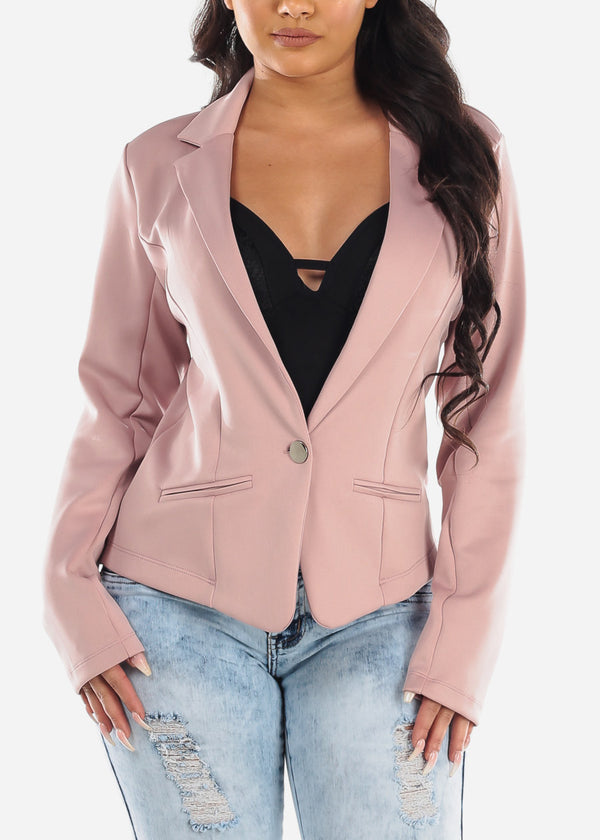 Women's Junior Ladies Office Career Wear Night Out Stylish Fashionable Long Sleeve Back Floral Lace One Button Mauve Blazer