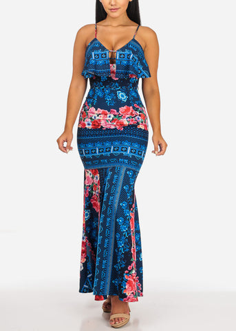 Sexy Navy Floral Mermaid Maxi Dress