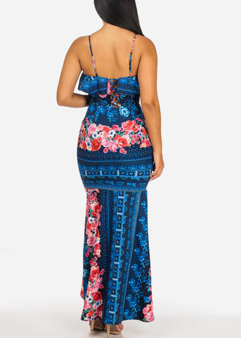 Image of Sexy Navy Floral Mermaid Maxi Dress
