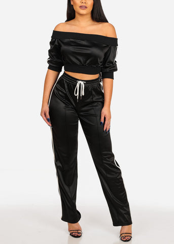 Image of Women's Junior Stylish Going Out Off Shoulder Short Sleeve Silk Black Stripe Sides Crop Top  And Drawstringwaist Pants Tracksuit For Women