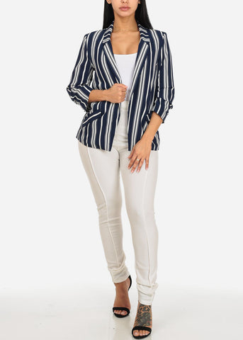 Navy Stripe Open Front Blazer