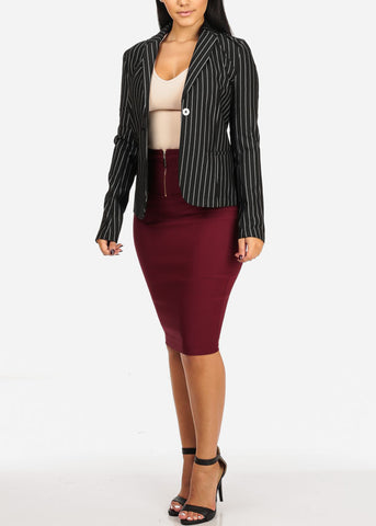 Image of Sexy High Waisted Burgundy Pencil Skirt