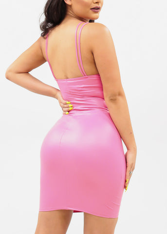 Women's Junior Ladies Sexy Stylish Trendy Must Have Night Out Clubwear Faux Leather Tight Bodycon Above Knee Short Hot Neon Pink Dress