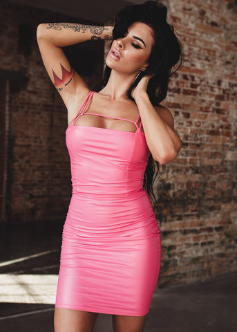 Image of Sexy Pleather Pink Dress