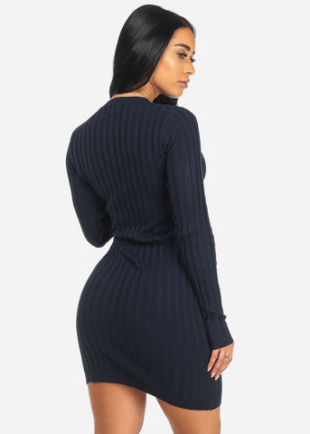 Long Sleeve Keyhole Neckline Navy Bodycon Above Knee Dress