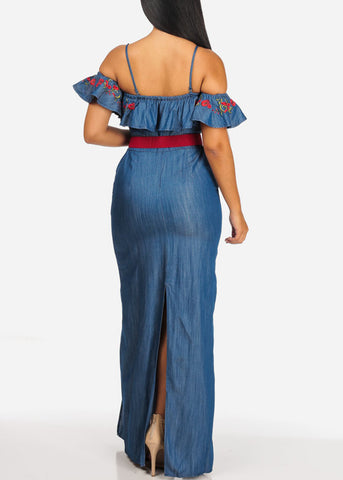 Cold Shoulder Floral Print Denim Maxi Dress