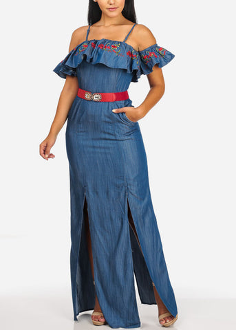 Image of Cold Shoulder Floral Print Denim Maxi Dress