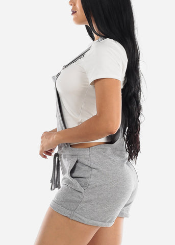 Image of Casual Sleeveless Gray Short Overall