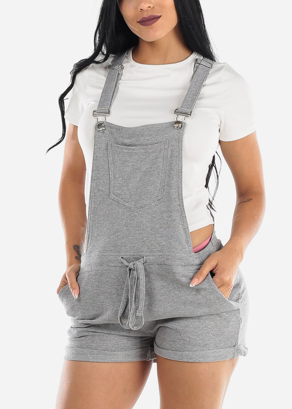 Casual Sleeveless Gray Short Overall