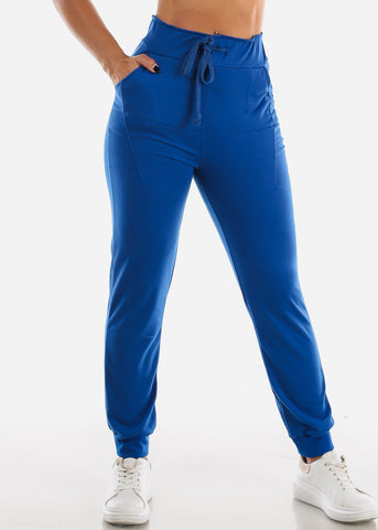 Royal Blue Drawstring Waist Jogger Pants