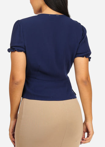 Image of Casual Elastic Wrap Front Navy Top