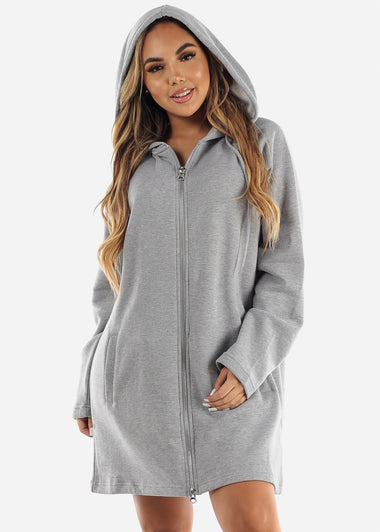 Fleece Zip Up Grey Hoodie Dress