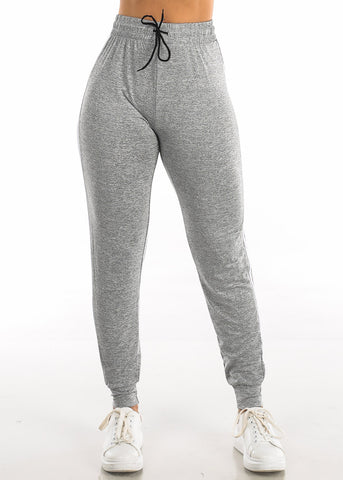 Image of Drawstring Heather Grey Jogger Pants