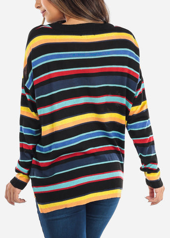 Black Multi Color Striped Sweater