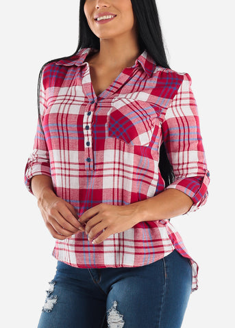 Image of Half Button Up Red Plaid Shirt
