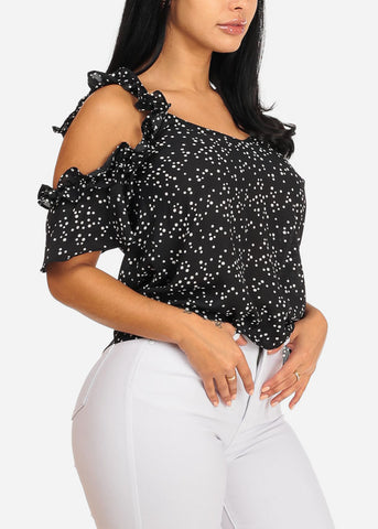 Ruffle Black Polka Dot Top
