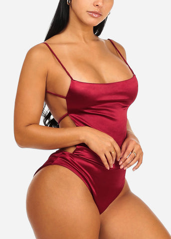 Sexy Open Back Silk Red Bodysuit