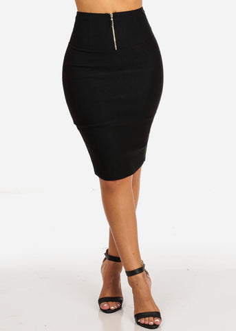 Sexy High Waisted Black Pencil Skirt