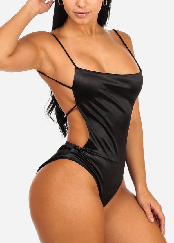 Sexy Open Back Silk Black Bodysuit