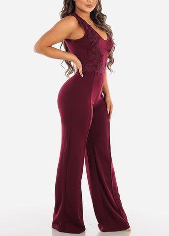 Crochet Detail Wine Sleeveless Jumpsuit