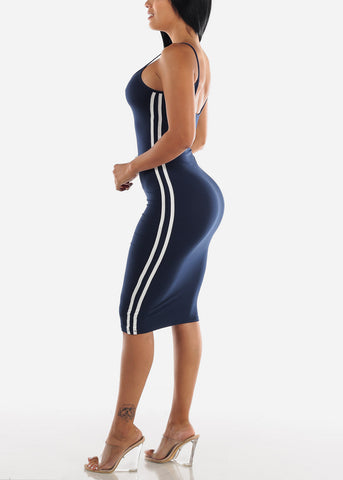 Image of Navy Bodycon Midi Dress