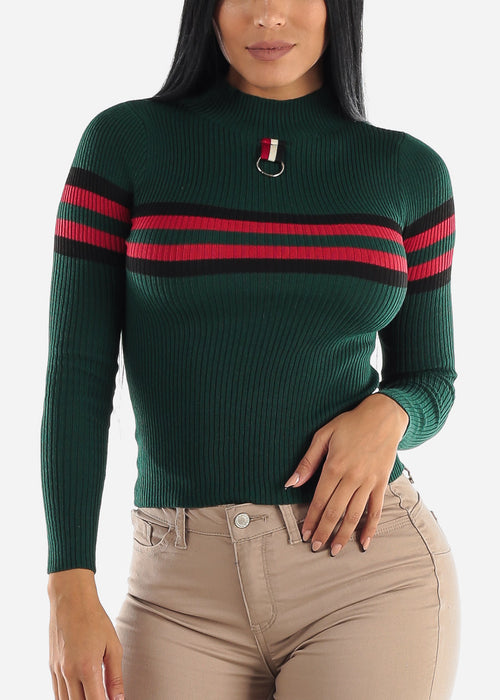 High Neck Ribbed Green Sweater