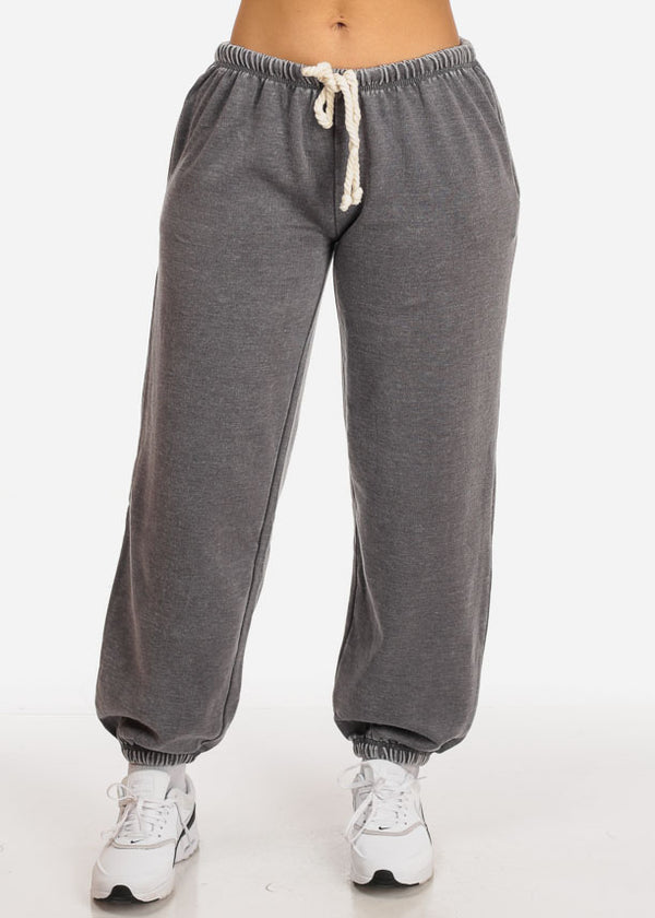 Charcoal Low Rise Drawstring Waist Jogger Pants