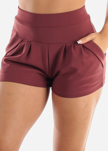 Burgundy High Rise Dress Shorts