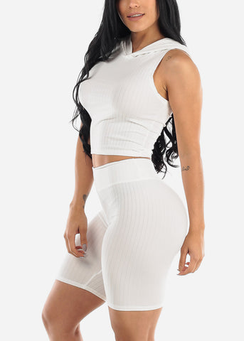 Image of Ribbed White Top & Bermuda Shorts (2 PCE SET)