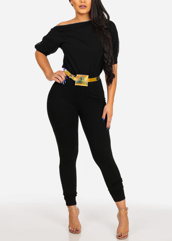 Women's Junior Ladies Sexy Night Out Casual Day Party Clubwear Black Jumpsuit With Zipper Shoulder And Belt Included