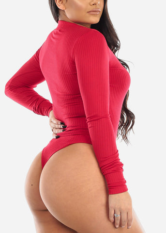 Button Front Red Long Sleeve Bodysuit