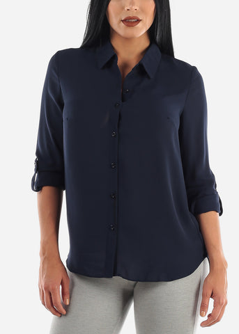 Image of Navy Button Up Top