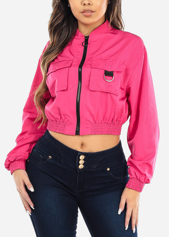 Image of Hot Pink Windbreaker Crop Jacket