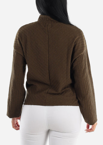Image of Turtle Neck Olive Thermal Sweater