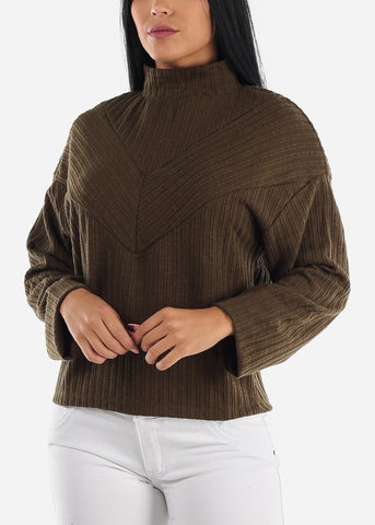 Turtle Neck Olive Thermal Sweater
