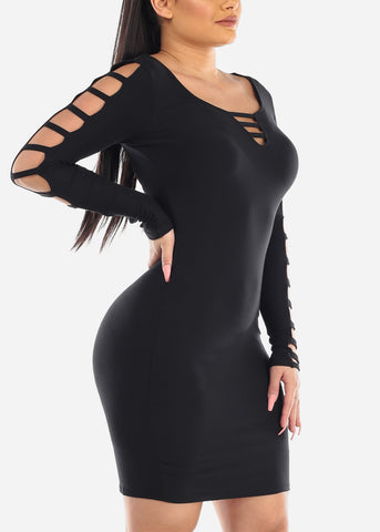 Image of Sexy Cut Out Black Dress
