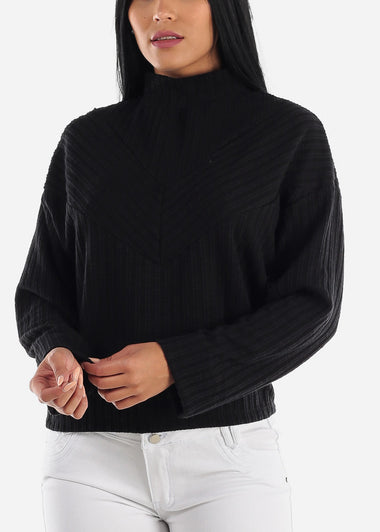 Turtle Neck  Black Thermal Sweater