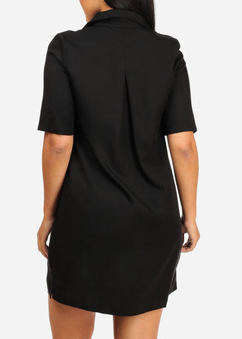 Image of Casual Black Laced Up Dress