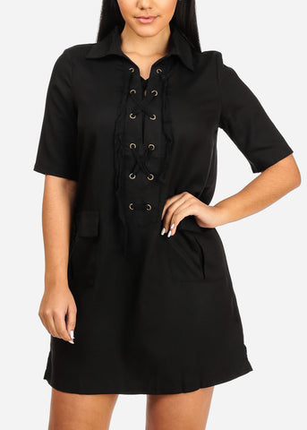 Casual Black Laced Up Dress