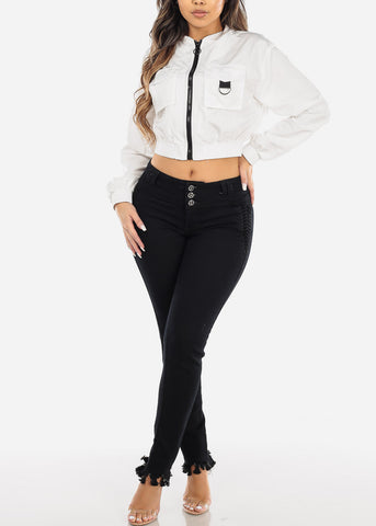 Image of White Windbreaker Crop Jacket