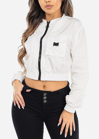 White Windbreaker Crop Jacket