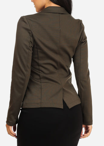 Image of Classic One Button Olive Blazer