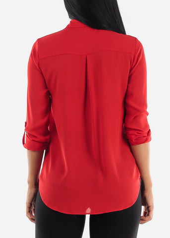 Image of Red Button Up Top