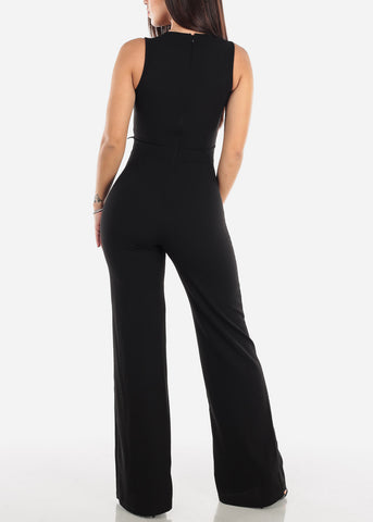 Crochet Detail Black Sleeveless Jumpsuit