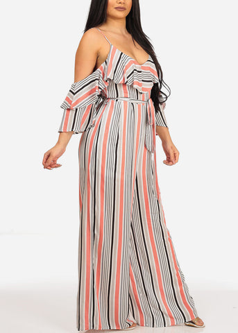 Image of Women's Stylish Sexy Trendy Brunch Cold Shoulder Ruffle Detail Summer Lightweight Stripe Rose Jumpsuit