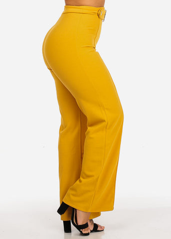 Image of High Waisted Wide Legged Mustard Pants