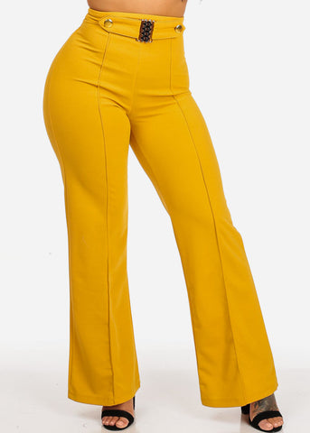 High Waisted Wide Legged Mustard Pants